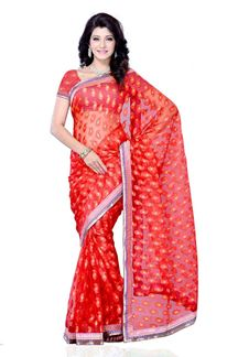 Picture of Party wear red jacquard fabric saree