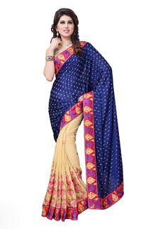 Picture of Splendorous dark blue & beige color saree