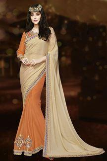 Picture of Fashionable cream & orange color saree