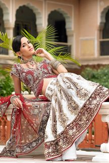 Picture of Traditional white & red colors velvet lehenga choli