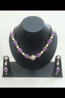 Picture of Charming purple American diamond necklace set