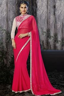 Picture of Outstanding party wear pink color saree