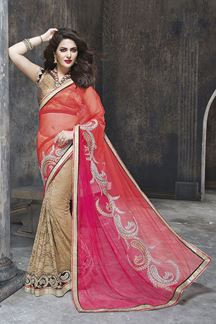 Picture of Dual fabric zari embroidered party wear saree
