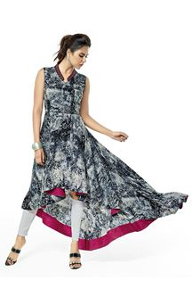 Picture of Grey and White printed flared kurti