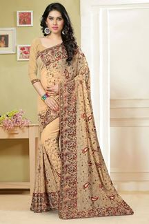 Picture of Subtle beige saree with multicolor resham embroidery