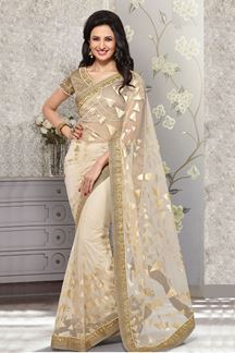 Picture of Trendy off white color net fabric saree