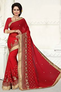 Picture of Radiant red saree with zari embroidery