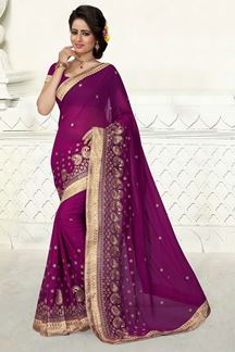 Picture of Exquisite violet saree in georgette