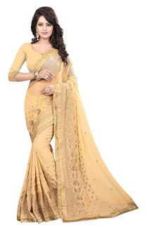 Picture of Graceful beige designer georgette saree