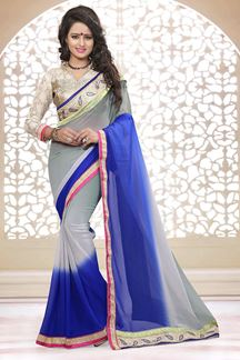 Picture of Fabulous grey & blue shaded saree
