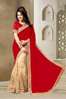 Picture of Vibrant red & beige half & half saree