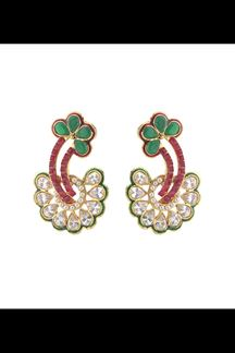Picture of Unique green & pink earrings with stone