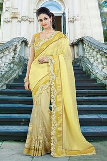 Picture of Blissful yellow half & half saree