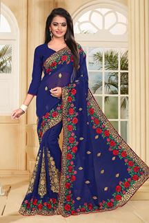 Picture of Stunning deep blue saree with resham