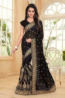 Picture of Bewitching black georgette saree