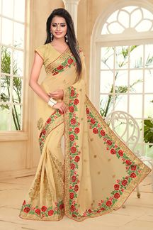 Picture of Appealing beige saree with resham work