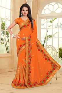 Picture of Captivating orange saree with resham