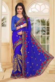 Picture of Enticing royal blue saree with resham