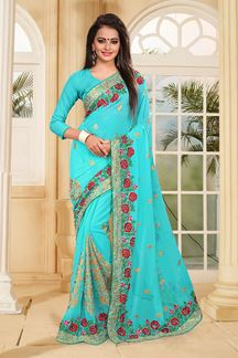 Picture of Lovely blue designer saree with resham
