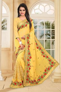 Picture of Fabulous yellow georgette saree with zari