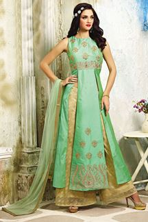 Picture of Lavish green designer suit with slits