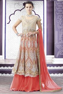 Picture of Catchy cream & peach lehenga choli set