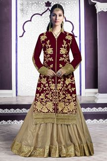 Picture of Regal maroon & beige lehenga choli set