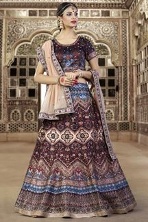 Picture of Gorgeous sienna brown lehenga choli set