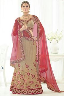 Picture of Striking gold lehenga with resham work