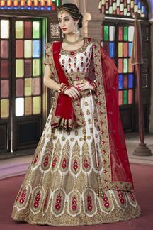 Picture of Auspicious white panetar bridal lehenga
