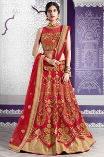 Picture of Empress style red bridal lehenga choli set