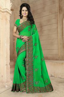 Picture of Delightful green saree with resham work