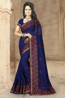 Picture of Stylish midnight blue georgette saree