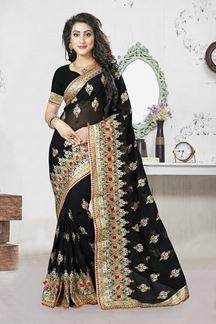 Picture of Classy black georgette saree with zari