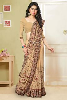 Picture of Tasteful beige saree with resham & zari