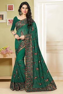 Picture of Marvelous deep green saree with resham