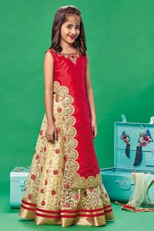 Picture of Fascinating red & cream lehenga choli set