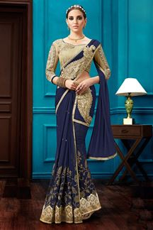 Picture of Freestyle navy blue rich lehenga saree