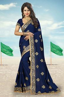 Picture of Eccentric blue designer saree with zari