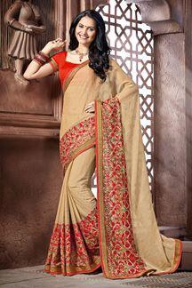 Picture of Heavenic beige designer saree with work