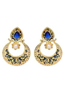 Picture of Half moon shape danglers with golden polish in blue