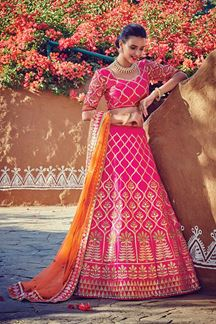 Picture of Timeless pink lehenga with zari designs