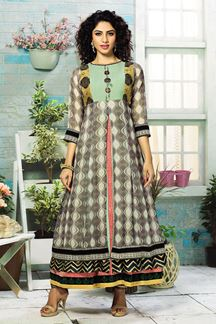 Picture of Arresting grey designer kurti with prints