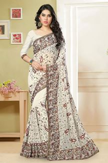 Picture of Ravishing white designer saree with resham work