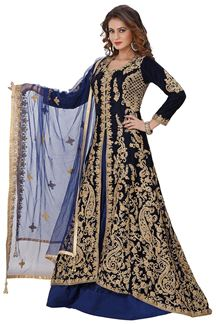 Picture of Heavily embroidered blue lehenga choli