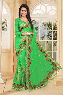 Picture of Arresting green saree with resham work
