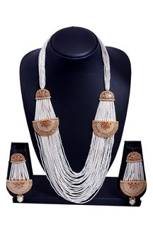 Picture of Rich cream & gold designer necklace set