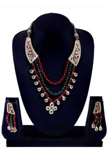 Picture of Red & green beads worked necklace set