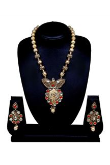 Picture of Pink stone and gold plated necklace set