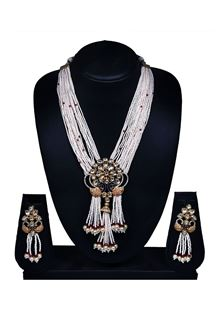 Picture of cream & blue designer necklace set